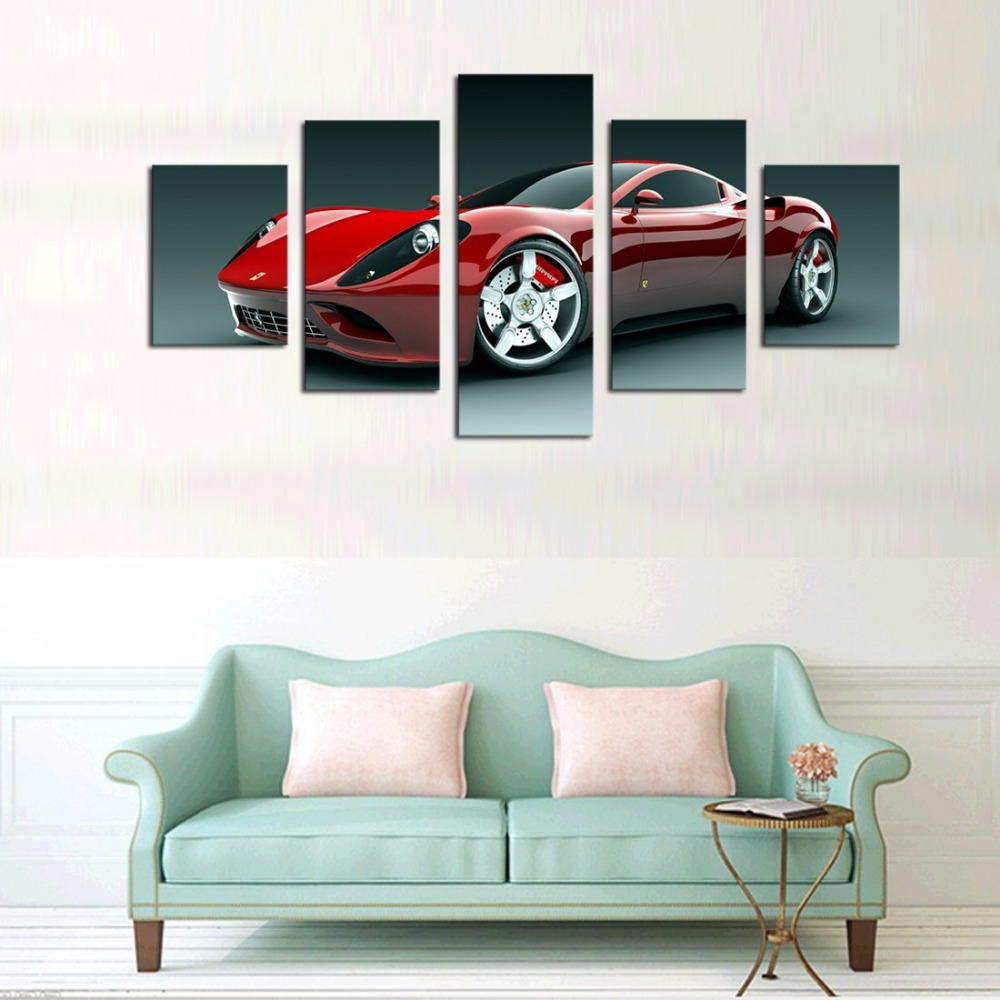 Canvas Print Wood Framed Wall Art 5 Set Red Sport Car Painting Picture Print On Canvas Drop Shipping