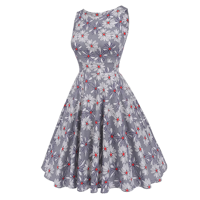 Kostlish Cotton Summer Dress Women 2017 Sleeveless Tunic 50s Vintage Dress Belt Elegant Print Rockabilly Party Dresses Sundress (63)