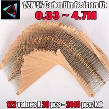 2440 stücke 122 Werte 0,33 4,7 M ohm 1/2W 5% Carbon Film Widerstände Sortiment Kit Elektronische komponenten