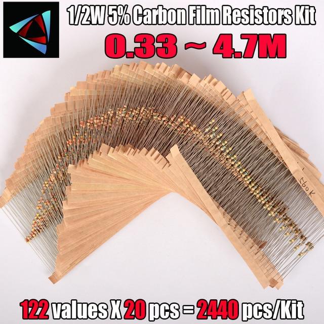 Kit surtido de resistores de película de carbono, 2440 Uds., 122 valores, 0,33 4,7 M ohm 1/2W 5%, componentes electrónicos