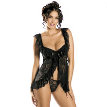 Plus Size Perspective Sexy Lingerie Womens Lace Floral Sexy Costumes Backless A File Open Underwear Dress+1 G-String Temptation