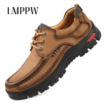 Top Quality Outdoor Men Shoes Genuine Leather Sneakers Fashion Men Comfortable Waterproof Hiking Shoes New 2019 Male Ankle Botas