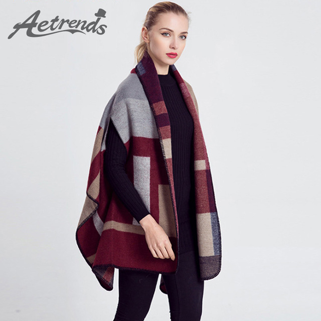 [AETRENDS] 2016 New Fashion Women Poncho Capes Shawl Cashmere Scarf Women's Scarves Z-2299