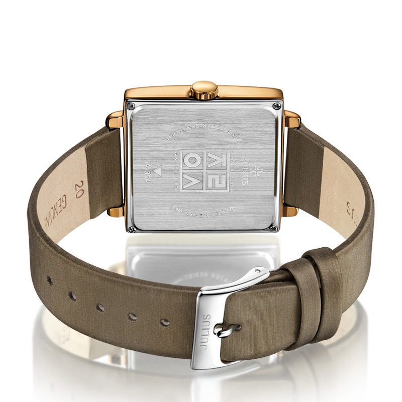 Julius Brand Luxury Quartz Watches Woman Retro Square Rose Gold Dial Leather Wristwatches Casual Dress Watch Montre Femme Gift