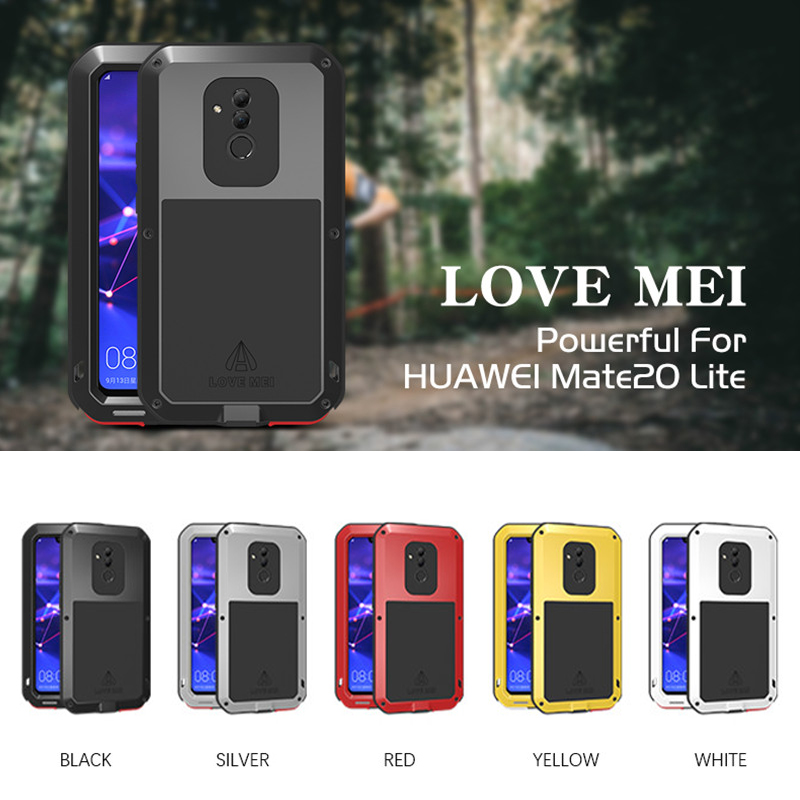 LOVEMEI Powerful Metal Waterproof Case For Huawei Mate 20 Lite Full Body Protection Cover Armor ShockProof Defender Phone Case