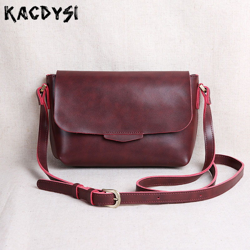 New Second Layer Cow Leather Original Handmade Retro Ladies Crossbody Bags Simple Small Tote Shoulder Purse
