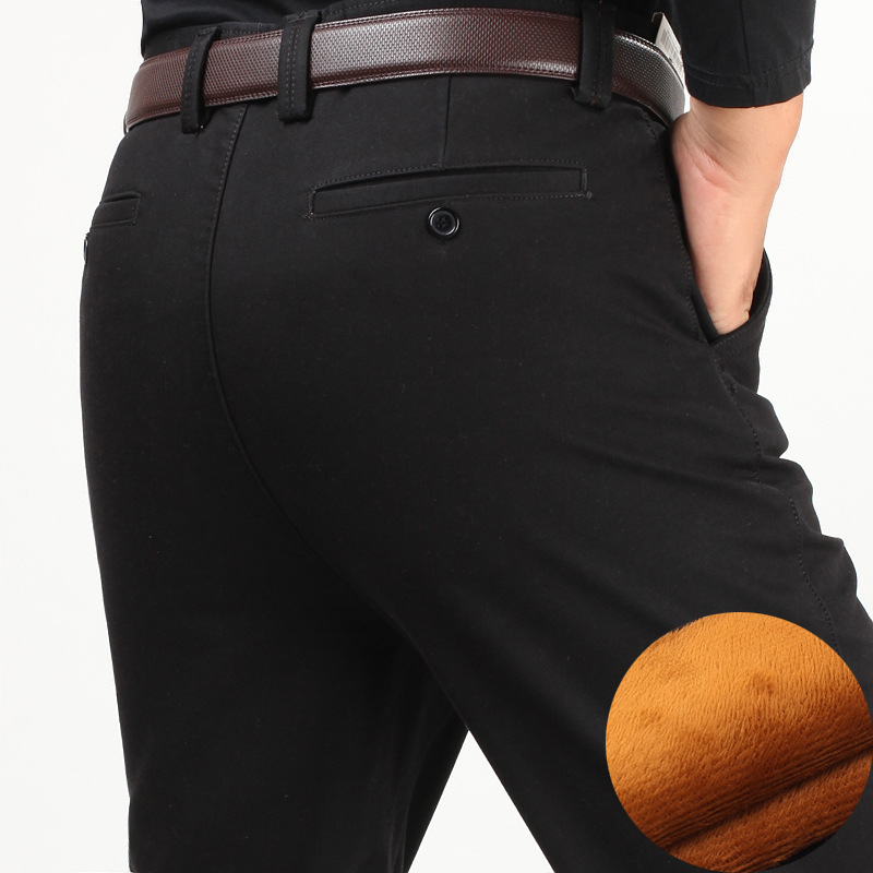 Image 5 - Winter thick men casual pants with velvet thicken high waist  comfortable middle aged mens cotton business straight long pants  -