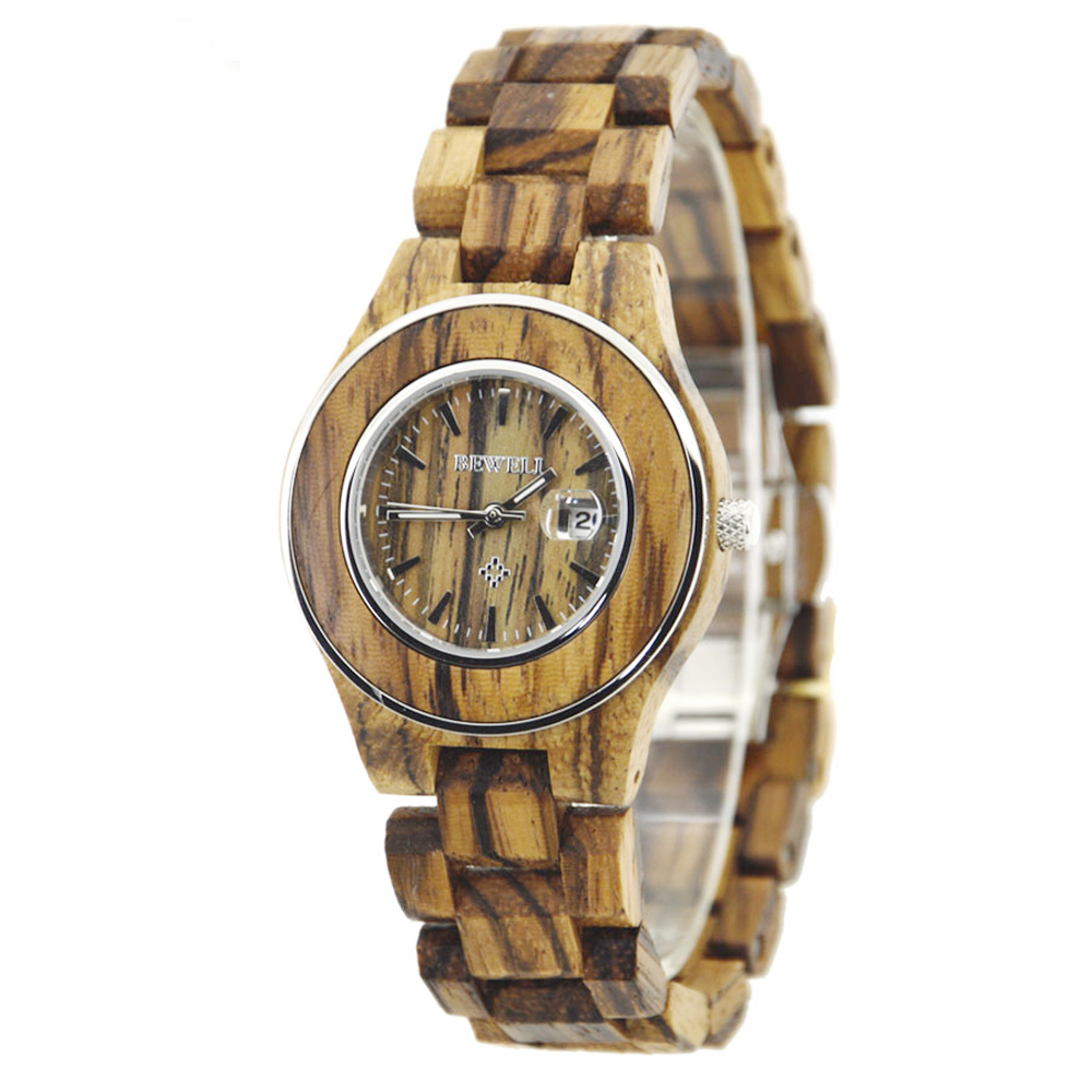 BEWELL Wood Watch Ladies Fashion Casual Quartz Watches 30Bar Waterproof Luminous Pointers Clock Relogio Feminino with Box 100AL