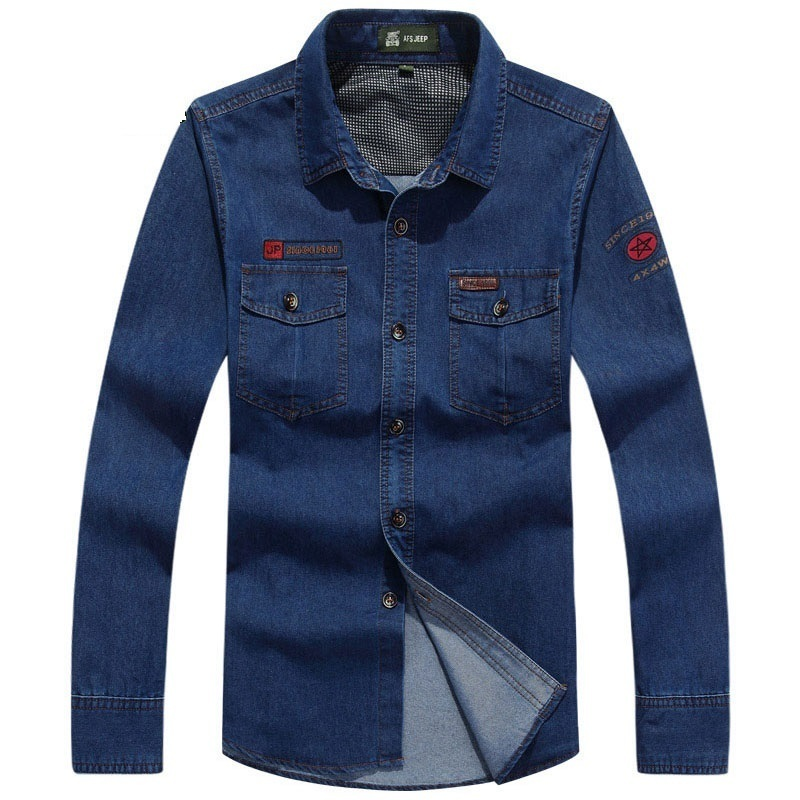 M~4XL Denim Casual Men Shirt Brand Clothing 2018 Plus Big Size Camisa Masculina Shirts Long Sleeve Camisa Vetement Homme Camisas ...