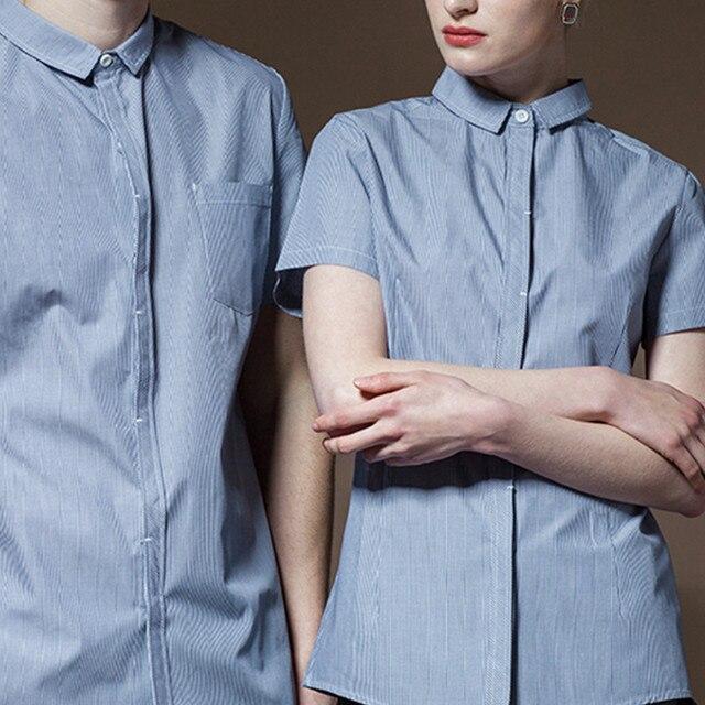 Poly Cotton Short Sleeve Shirt Hotel Restaurant Chef Kitchen Uniform Barista Bistro Diner Baker Bartender Catering Work Wear D42