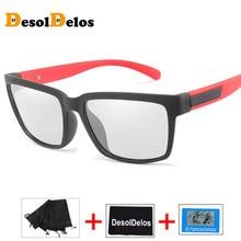 2019 Driving Photochromic Sunglasses Men Polarized Chameleon Discoloration Sun glasses for men fashion rimless square sunglasses