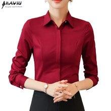 cc126d7088 2019 wiosna moda damska odzież biznes z długim rękawem czerwony bluzki  formalne szczupła szyfonowa koszula panie biurowe bluzka .