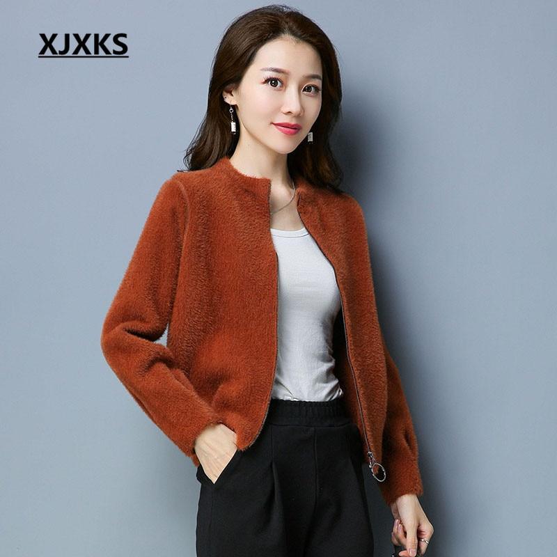 XJXKS Streetwear 2018 Long Sleeve Comfortable Mink Cashmere And Wool Coats Zipper Matal Casual Short Blends