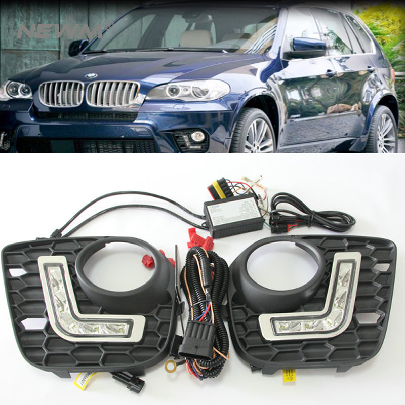 LED DRL for BMW E70/X5 M-tech 11-13 led daytime running light dimmable led driving lamp fog light  position light free shipping boaosi 1x h11 high power led light 4014 33smd 30w fog light driving drl car light no error for bmw e71 x6 m e70 x5 e83 f25 x3