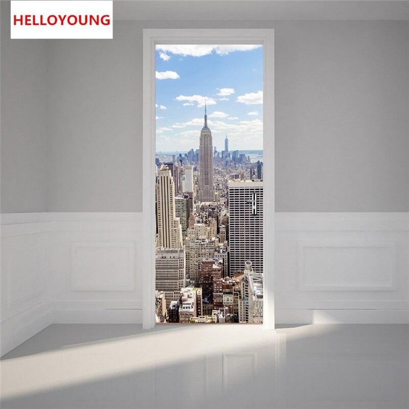 QT 0313 Manhattan New York Imitation 3D Door Stickers 2pcs/set DIY Mural Bedroom Home Decorative