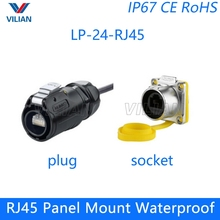 Assembly RJ45 CAT5E Female socket with Cover Waterproof plug Cable Connector Cnlinko screw lock 1 unit