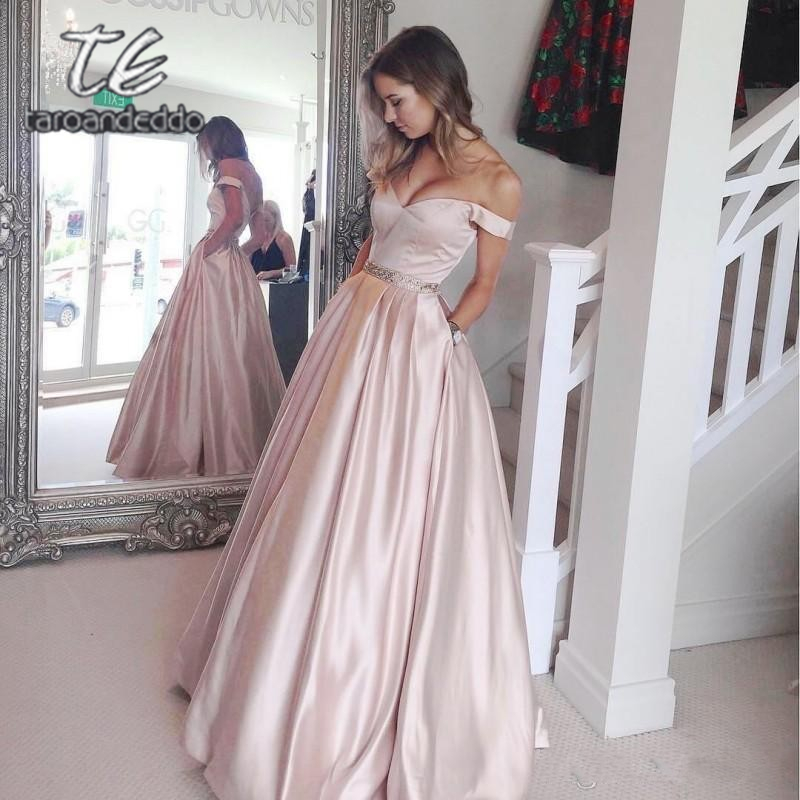 Off the Shoulder Long   Prom     Dresses   Sleeveless Open Back A Line Beading Evening Formal Party   Dress   with Pockets Vestido De Fiesta