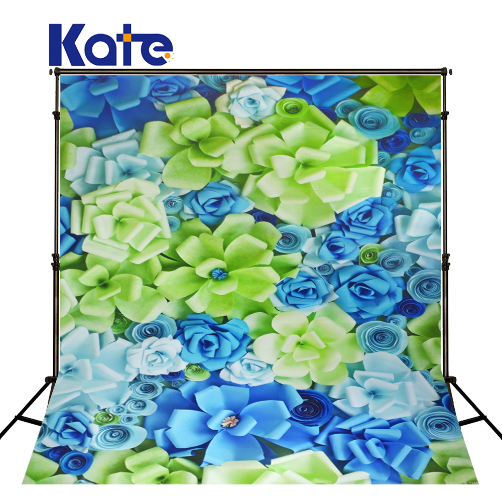 KATE 3D Paper Flower Wall Background Wedding Romantic Background Fabric Blue Flower Fabric Blue Flower for Photography Studio сумка kate spade new york wkru2816 kate spade hanna
