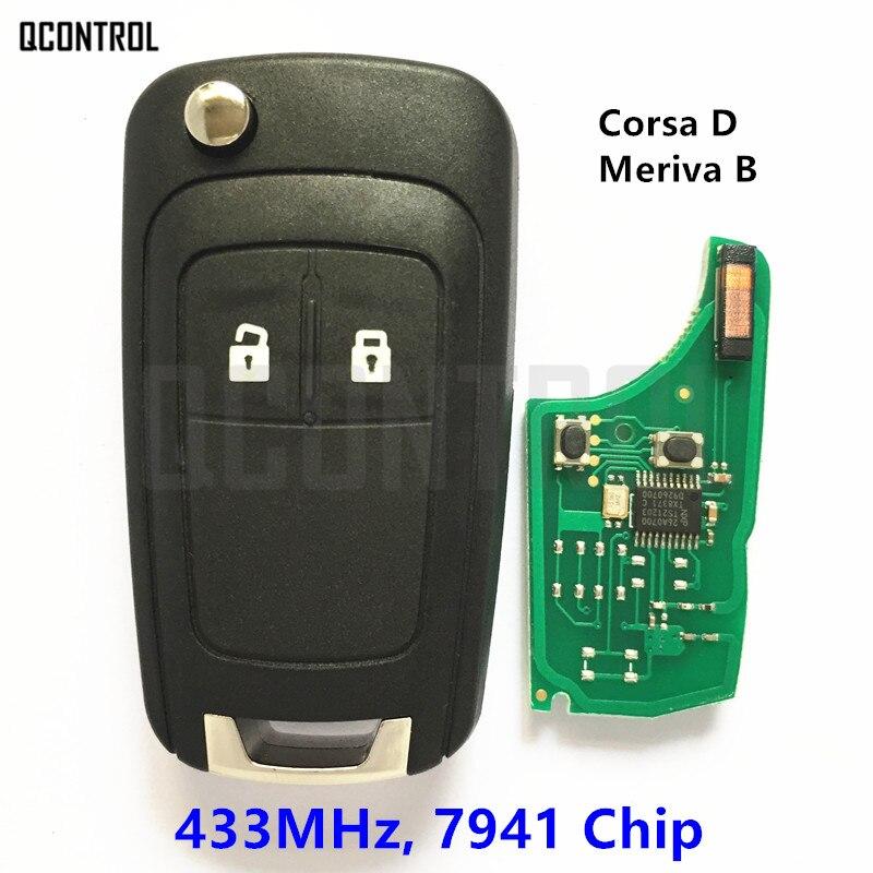 QCONTROL G4-AM433TX vehículo remoto clave traje para Opel/Vauxhall Corsa D 2007 + meriva B 2010 + con PCF7941 Chip