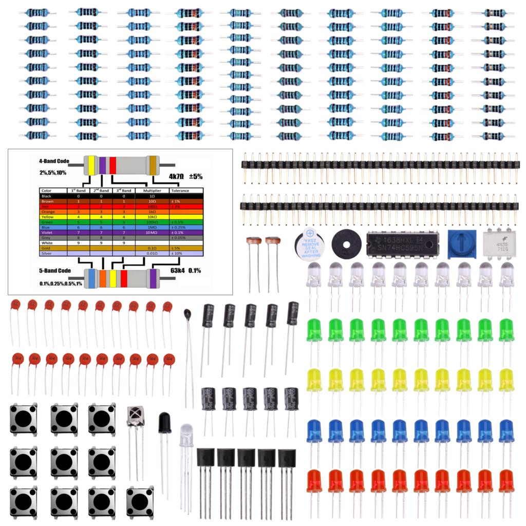 Electronics Component Basic Starter Kit W/ Precision Potentiometer, Buzzer, Capacitor Compatible For Arduino