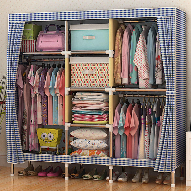 ФОТО sell well Wardrobe Large Simple Home Steel Clothes Storage Bold Thicker Steel Frame