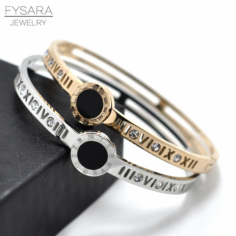 FYSARA Luxury Brand Love Roman Crystal Charm Bracelet Women Jewelry Gold-Color Hollow Roman Numerals Bangle & Bracelets Couple