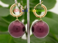 AAA Dangle big 20mm wine red round sea shell pearls Earrings 14K hoop j8666Noble style Natural Fine jewe FREE SHIPPING