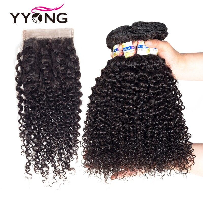 Yyong Cheveux 5 pcs/lot Brésilien Crépus Bouclés Vague 4 Faisceaux Avec Fermeture 100% Humains Non Remy Cheveux Tisse Extensions Peut être Teints