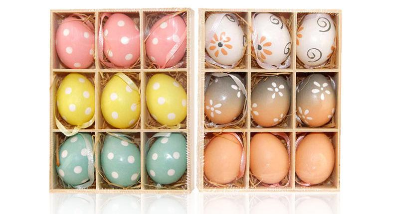 18PCS/lot Easter Egg Bunny Shape Easter Eggs Cute Painted Plastic Eggs Kindergarten Diy Hand Craft Toys Free Shipping