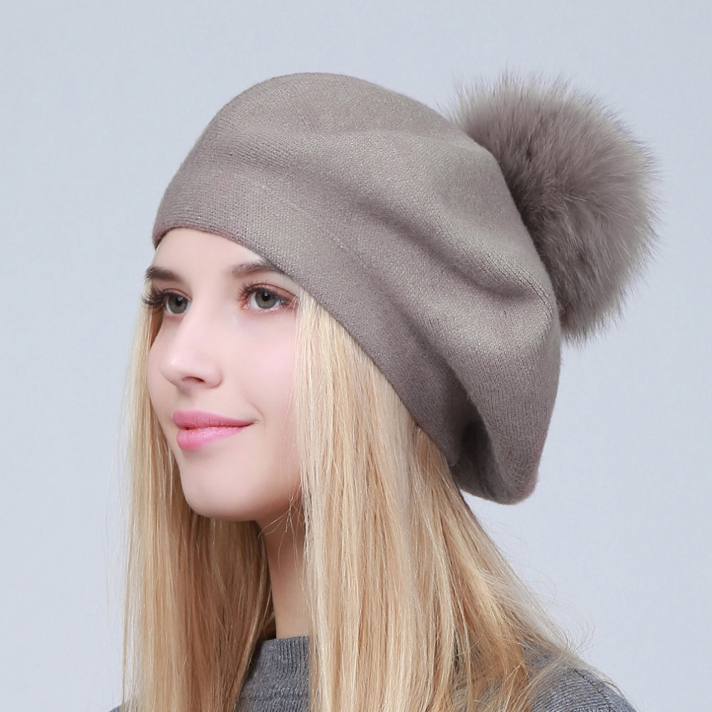 e9e267f5 ... Geebro Women's Beret Hat Winter Casual Knitted Cashmere Berets With  Raccoon Fur Pompom Femme French Solid ...