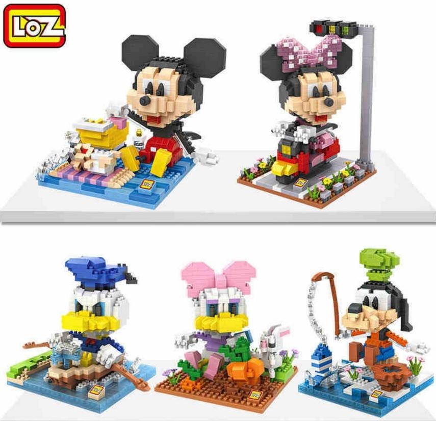LOZ Mickey Minnie Mouse Donald Duck Daisy Goofy Diamond Blocks Animal Figure  Toys Educational DIY Building Blocks 9634 - 9639 donald wigal pollock