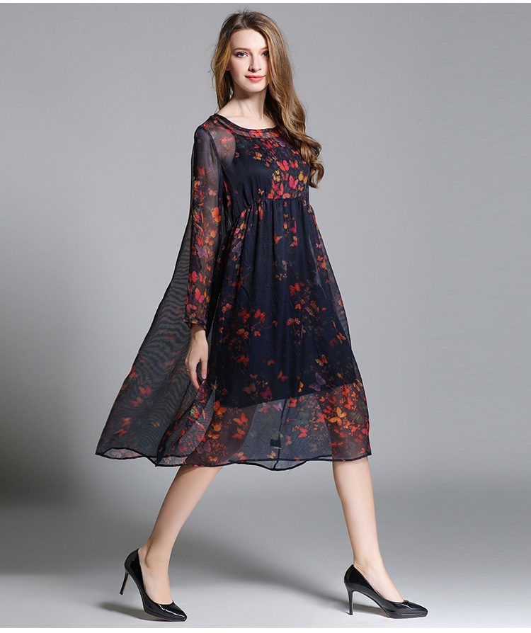 b55bffefc86a5 US $53.0 |New 2017 Fashion women butterfly printed chiffon dress loose fit  long sleeves empire casual vestidos plus size tunics XXXXL 6352-in Dresses  ...