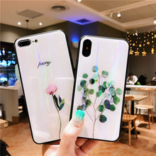 Laser Green Leaves Tempered Glass Case For Xiaomi Redmi Note 8 Pro note 7 pro K20 Case cover For Xiaomi Mi 9 se cc9 cc9e case(China)