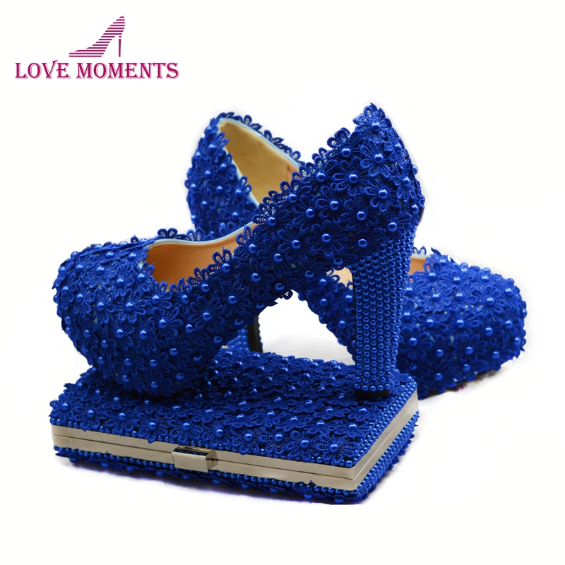 2018 Spring Royal Blue Lace Wedding Party Shoes Matching Purse Comfortable Chunky Heel Beautiful Formal Dress Shoes with Handbag
