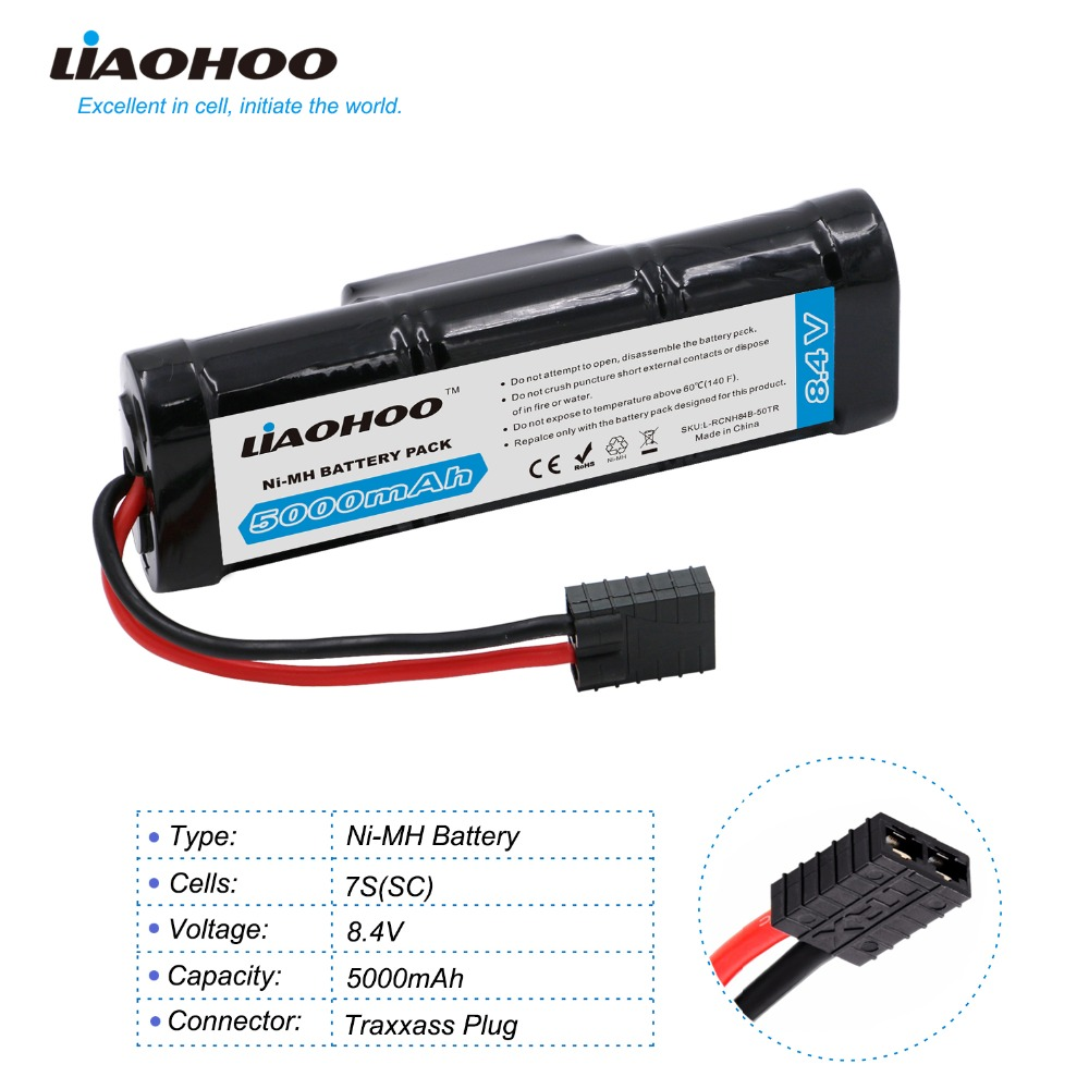 High Power LiaoHOO 8.4V 5000mAh 7-Cell NiMH Battery Pack with Traxxas/Deans-T/KET 2P Discharge Plug for RC Car, Buggy, Truck