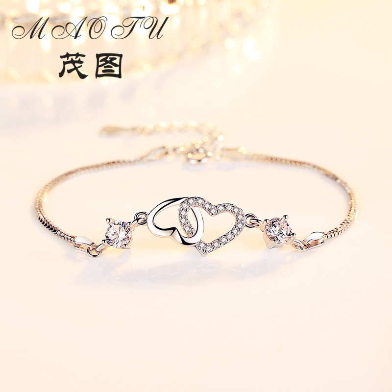 Real 925 Sterling Silver Bracelet Elegant CZ Charms Fashion Box Chain Bracelets for Women Jewelry Gift 925 sterling silver cz by the yard anklet bracelet 10