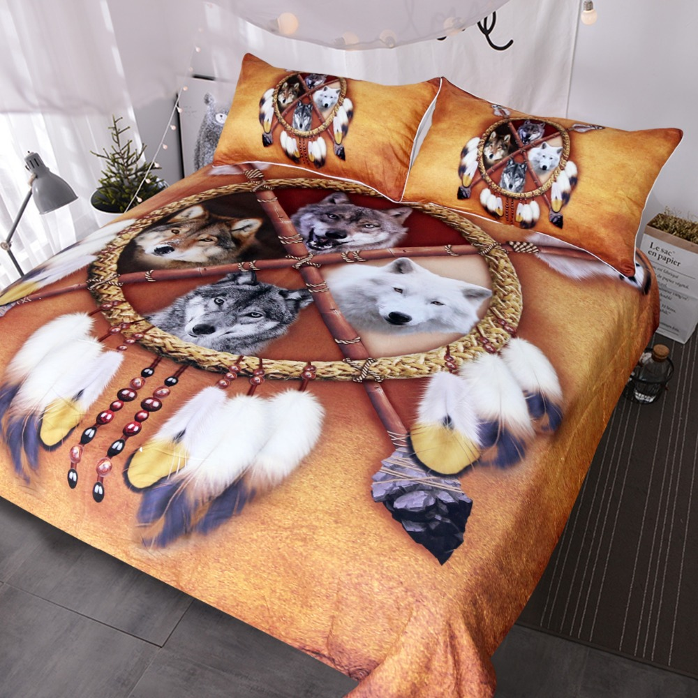 Lobos BlessLiving Dreamcatcher Conjunto de Cama Capa De Edredão Lobo Ocidental Native American Indian Wild Animal Tribal 3D 3 Tampa de Cama pcs