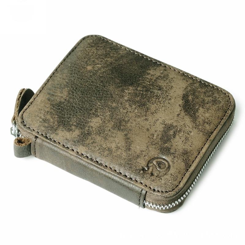 Vintage Men's Wallets Genuine Leather Short Wallet Retro Card Holder Mini Zipper Purse for Male Women Carteira Masculina