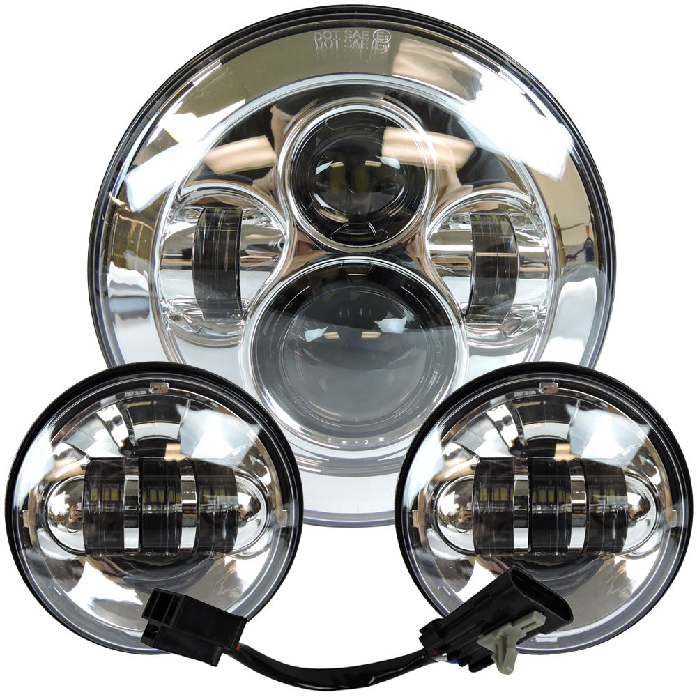 Image 5 - Headlight For Universal Motorcycle Parts 7 LED Motor Headlight  4.5 4 1/2 inch Passing Light For Harley Touring Softail Classiclight  for -