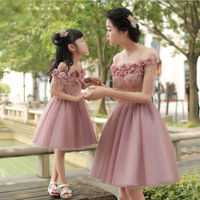 Family matching clothes fashion mother daughter dress wedding party dress for women fairy ball gown flower appliques sleeveless