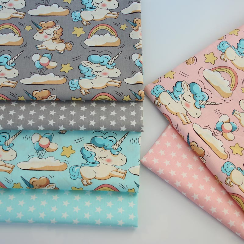 100% cotton twill cloth GRAY PINK AQUA cartoon unicorn rainbow stars fabric for DIY crib bedding cushion quilting handwork decor