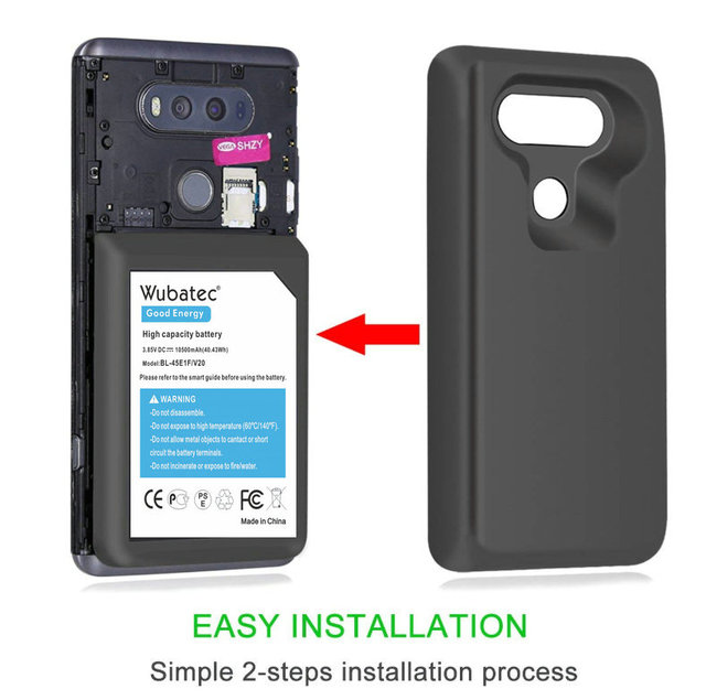 innovative design adb0b a9611 US $30.48 |Wubatec 1x 10500mAh V20 Extended Battery with TPU Case BL 44E1F  For LG V20 LS997 F800 VS995 US996 H990 H990DS H910 H918 -in Mobile Phone ...