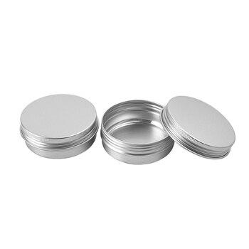 50g X 48  Aluminum Cream Jar 50ml Metal Cosmetics Silver Container Jar Screw Lid 2 OZ Alu Empty Packaged Bottles DIY Tea Pot Tin