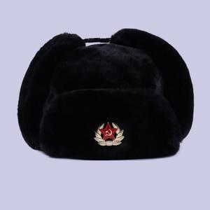 Image 3 - Radziecka odznaka Ushanka rosyjski mężczyzna kobiet czapki zimowe Faux Rabbit Fur armia wojskowa bomberka kapelusz kozak traper Earflap śnieg czapka narciarska