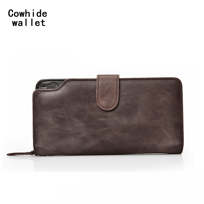 100% Genuine cowhide wallet top layer calf long wallet anti-theft buckle Wallets, Card package,Homens Mulheres Carteira de couro