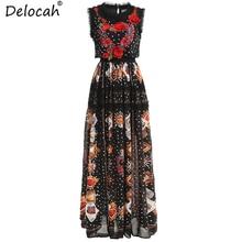Delocah New Women Spring Summer Dress Runway Fashion Sleeveless Appliques Ruffles Dot Printed Elegant Vintage Party Long Dresses цены