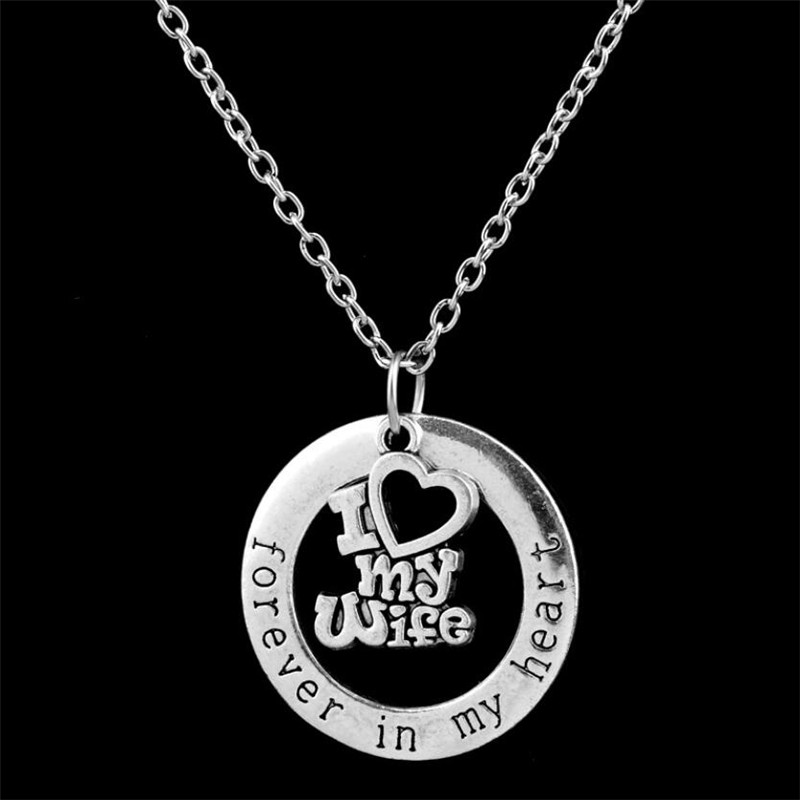 Best Gift For New Wife Part - 41: Chrismas Wife Gift Love Necklaces Pendant For Man Husband Classic Round In  My Heart Necklace Best