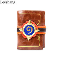Leeshang Fashion Game Purse Hearthstone 3D Logo Wallet Hearth Of The Stone Wallet Three Folds Genuine Leather Wallet