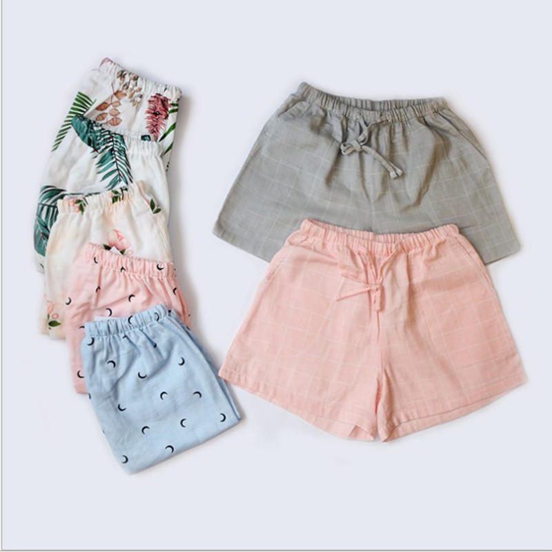 100%Cotton Summer Sleep Bottoms With Cute Sheep Printed Natural Color Top Quality For Women