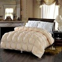 Beige White High Elasticity Fluffy Feather Velvet Autumn Winter Thick Duvet Bread Shape Comforter Quilt Bed Set Queen King Size